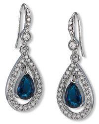 Carolee Blue Earrings, Silver-tone Pave Stone Drop Earrings