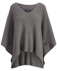 Polo Ralph Lauren - Gray Buttoned Poncho - Lyst