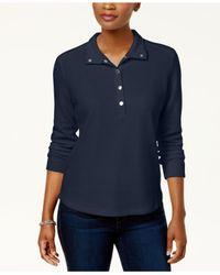 Karen Scott Blue Petite Snap-collar Top, Created For Macy's