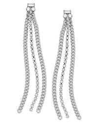 ABS By Allen Schwartz - White Earrings, Silver-tone Rhinestone Chain Linear Drop Earrings - Lyst
