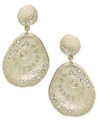 ABS By Allen Schwartz - Metallic Earrings, Gold-tone Scattered Pave Double-drop Earrings - Lyst