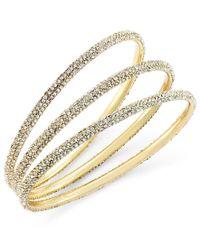 ABS By Allen Schwartz   Metallic Bracelet Set, Gold-tone Pave Bangle Bracelets   Lyst