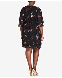 City Chic Black Trendy Plus Size Chelsea Belted Faux-wrap Dress