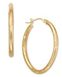 Macy's   Metallic 10k Gold Oval Hoop Earrings   Lyst