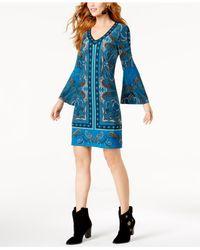 INC International Concepts | Blue Studded Bell-sleeve Dress | Lyst