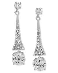 Carolee - Metallic Earrings, Silver-tone Cubic Zirconia Linear Drop Earrings (9-3/4 Ct. T.w.) - Lyst