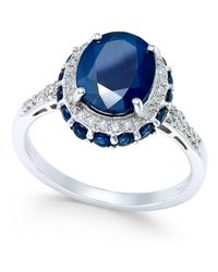Macy's Metallic Blue Sapphire (4 Ct. T.w.) And White Sapphire (1/3 Ct. T.w.) Oval Ring In 10k White Gold