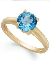 Macy's | Metallic 18k Gold Over Sterling Silver Ring, Blue Topaz December Birthstone Ring (1-1/2 Ct. T.w.) | Lyst