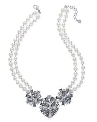 Charter Club - White Silver-tone All-around Stone Necklace - Lyst