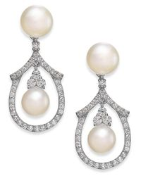 Arabella White Cultured Freshwater Pearl And Swarovski Zirconia Drop Earrings In Sterling Silver (5 & 6mm)