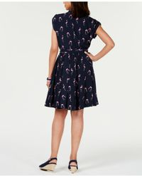 Charter Club Blue Petite Printed Belted Dress, Created For Macy's