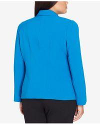 Tahari Blue Plus Size One-button Pleated-shoulder Blazer