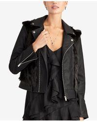 RACHEL Rachel Roy Black Faux-fur-trim Moto Jacket, Created For Macy