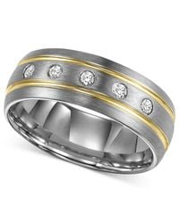Triton - Metallic Men's Diamond Stripe Wedding Band In Tungsten Carbide (1/6 Ct. T.w.) for Men - Lyst