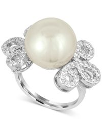 Majorica - White Sterling Silver Imitation Pearl And Pavé Ring - Lyst