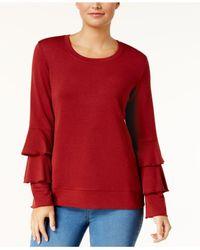 Style & Co. | Scoop-neck Tiered-sleeve Sweatshirt | Lyst