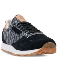 Reebok Black Men's Classic Leather Ebk Casual Sneakers From Finish Line for men