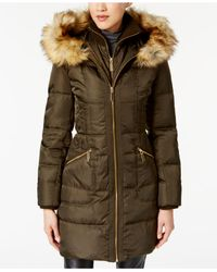Vince Camuto - Green Faux-fur-trimmed Hooded Puffer Coat - Lyst