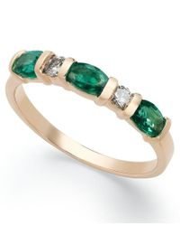 Macy's | Green 14k Gold Ring, Emerald (3/4 Ct. T.w.) And Diamond (1/8 Ct. T.w.) Ring | Lyst