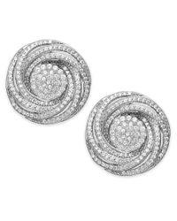 Wrapped in Love | Metallic Diamond Pave Knot Stud Earrings In Sterling Silver (1 Ct. T.w.) | Lyst