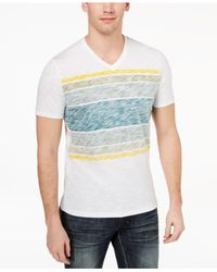 INC International Concepts - White Stripe V-neck T-shirt, Created For Macy's for Men - Lyst
