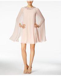 Vince Camuto - Pink Embellished Flyaway Cape Dress - Lyst