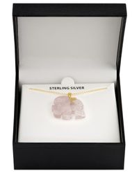 "Macy's - Metallic Rose Quartz (27mm) Elephant 18"" Pendant Necklace In 18k Gold-plated Sterling Silver - Lyst"