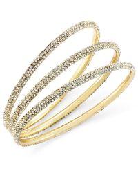 ABS By Allen Schwartz | Metallic Bracelet Set, Gold-tone Pave Bangle Bracelets | Lyst