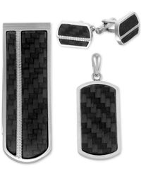 Macy's - Metallic 3-pc. Set Carbon Fiber Dog Tag Pendant Necklace, Cuff Links & Money Clip In Stainless Steel for Men - Lyst