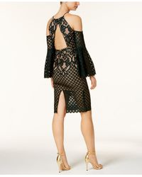 Bardot - Black Mila Cold-shoulder Mixed-lace Illusion Dress - Lyst