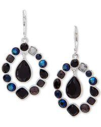 Nine West - Black Silver-tone Multi-stone Orbital Drop Earrings - Lyst