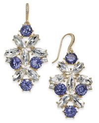 Charter Club - Metallic Gold-tone Blue & Clear Crystal Drop Earrings - Lyst