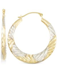 Macy's | Metallic Two-tone Textured Hoop Earrings In 10k Yellow And White Gold | Lyst