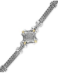 Effy Collection - Metallic Diamond Accent Curve Detail Bracelet In Sterling Silver And 18k Gold - Lyst