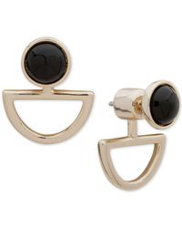 DKNY - Gold-tone Black Stone Floater Earrings - Lyst
