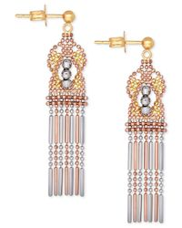 Macy's - Metallic Tri-color Ornate Beaded Drop Earrings In 14k Yellow, White And Rose Gold - Lyst