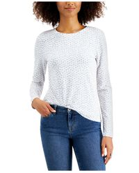 Style & Co. White Painted Hearts Printed Long-sleeve T-shirt, Created For Macy