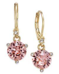 Kate Spade - Gold-tone Pavé & Pink Cubic Zirconia Drop Earrings - Lyst