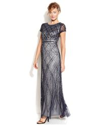 Adrianna Papell Blue Cap-sleeve Beaded Illusion Gown