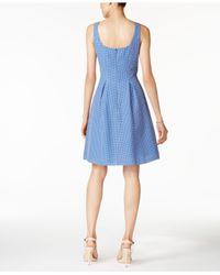 Nine West - Blue Printed Scoop-back Pocket Dress - Lyst