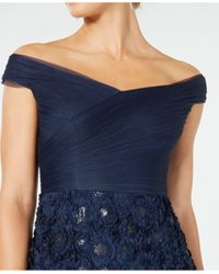 Adrianna Papell Blue Off-the-shoulder Floral Gown