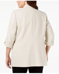 Nine West Natural Plus Size Open-front Blazer, Created For Macy's