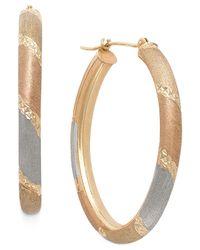 Macy's - Metallic Tri-tone Satin And Diamond Cut Oval Hoops In 14k Gold - Lyst