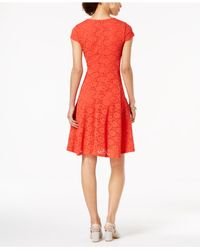 Alfani Red Petite Lace Fit & Flare Dress, Created For Macy's