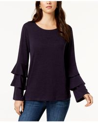 Style & Co. Blue Petite Double Bell Sleeve Top, Created For Macy