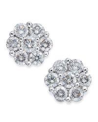 Macy's Metallic Diamond Cluster Stud Earrings (3/4 Ct. T.w.) In 14k White Gold