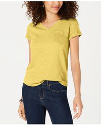 Style & Co. Yellow Petite V-neck Pocket T-shirt, Created For Macy