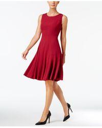 Calvin Klein - Brown Dress, Sleeveless Pleated A-line - Lyst