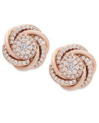 Wrapped in Love - Metallic Diamond Earrings, 14k Rose Gold Pave Diamond Knot Earrings (3/4 Ct. T.w.) - Lyst