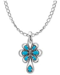 Carolyn Pollack Metallic Turquoise Pendant Necklace (1-3/4 Ct. T.w.) In Sterling Silver